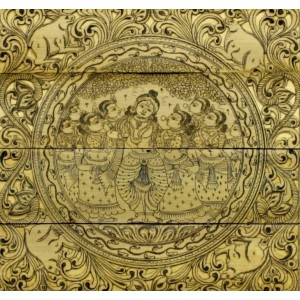 A palm leaf painting of Krishna with Radha and gopis