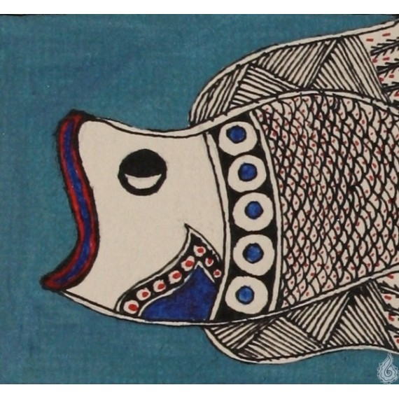 A Gaping Fish--Madhubani Art /An Ornate Fish--Madhubani Art