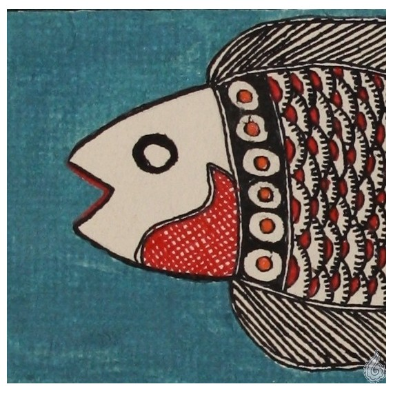 An ornate Madhubani fish