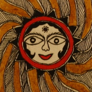 A Madhubani painting of 'surya' the Sun God