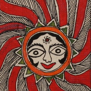 surya dev' Sun God rendered the Madhubani way.