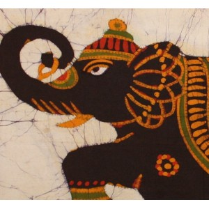 An ornate elephant in Batik