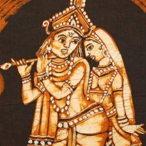 Lord Krishna And Radha Batik Painting