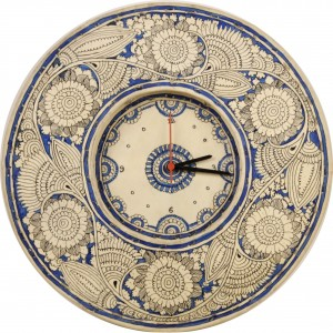Blue and white leather clock