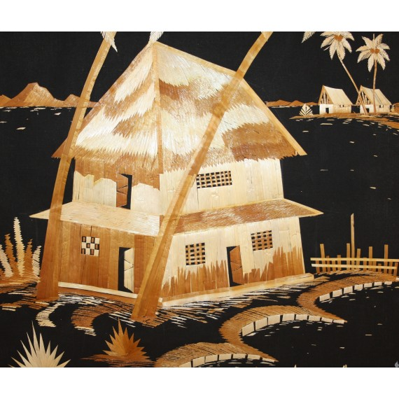 A house beneath the backwaters - Rice straw painting