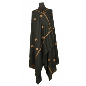 Black, pure wool shawl with amber needlework