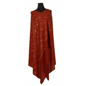 Maroon, pure wool shawl with lattice-like overall embroidery