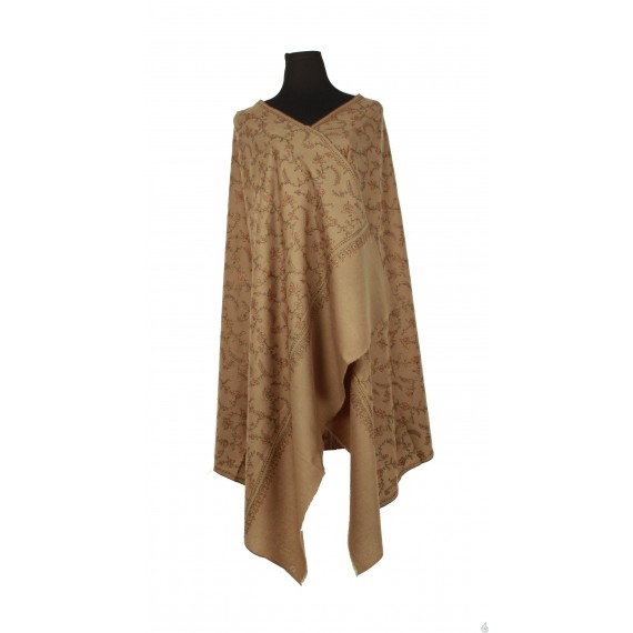 Fawn/soft tan pure wool shawl with 'Jaalidar' embroidery.