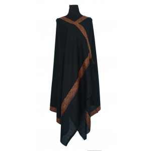 Black pure wool shawl with intricately embroidered border.