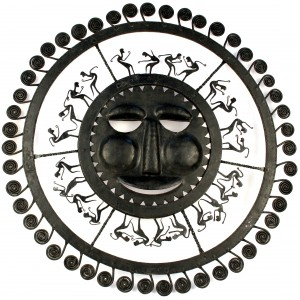 Wrought iron sun with dancing tribals