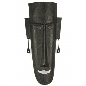 A wrought iron mask with a smile